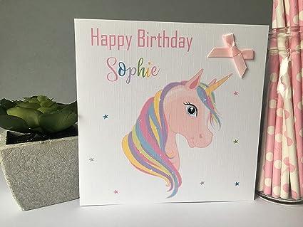 Handcrafted Unicorn Birthday Card Embossed Personalised UK Seller Pearlescent