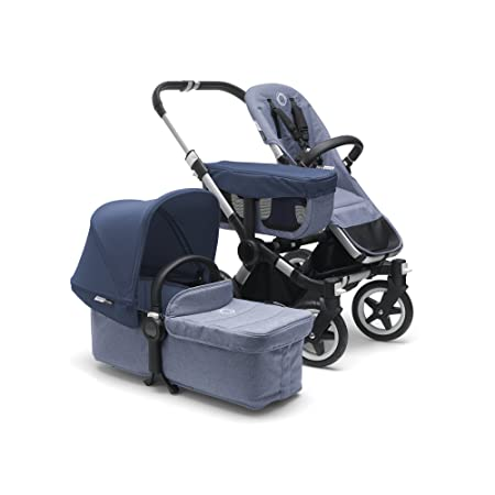 Bugaboo Donkey2 Complete Mono Stroller, Blue M lange Sky Blue The Most Spacious Foldable Stroller with The Option to Expand to a Double