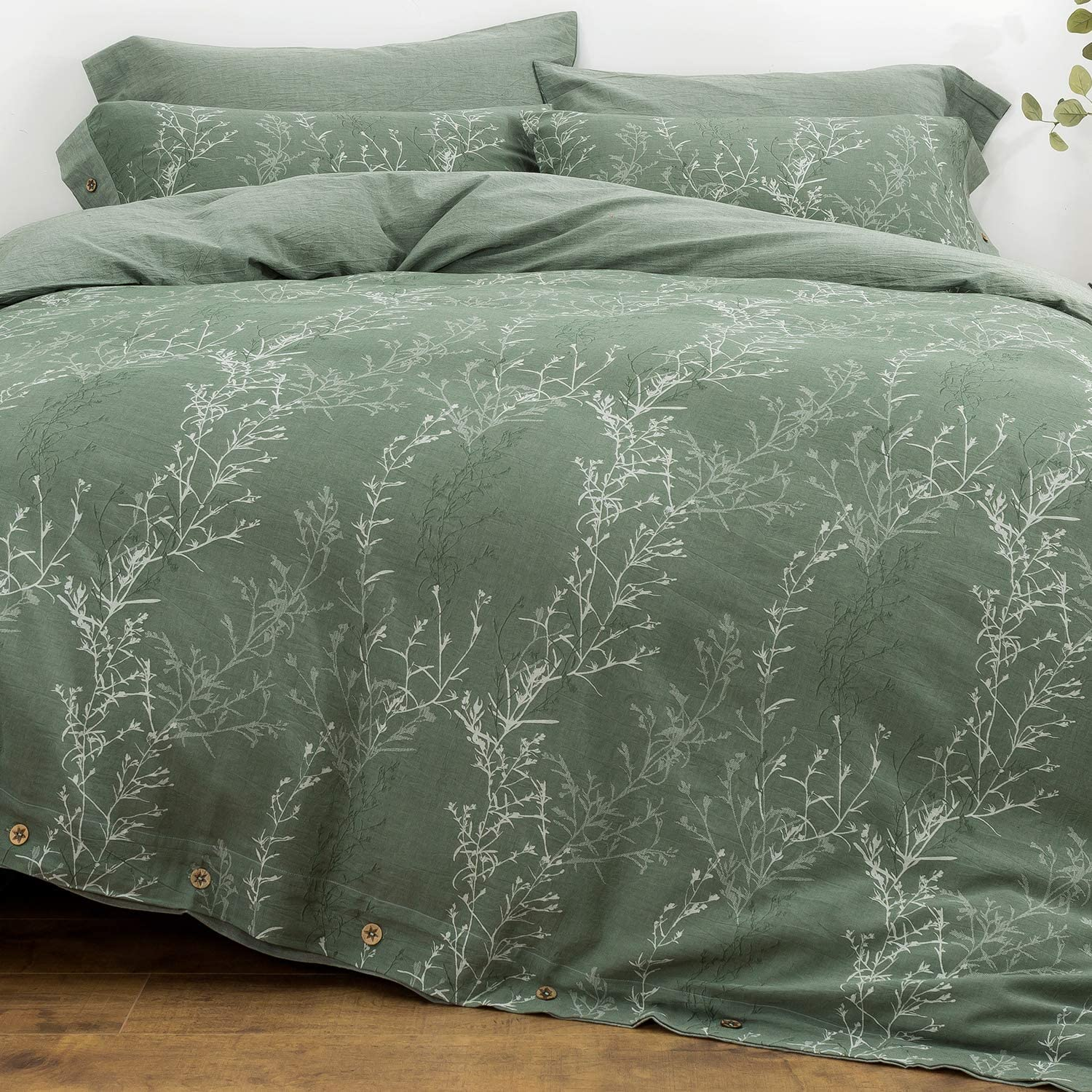 OREISE Duvet Cover Set Full/Queen Size Washed Cotton Yarn, Jacquard Green and White Thin Branch Pattern Floral Style 3Piece Bedding Set