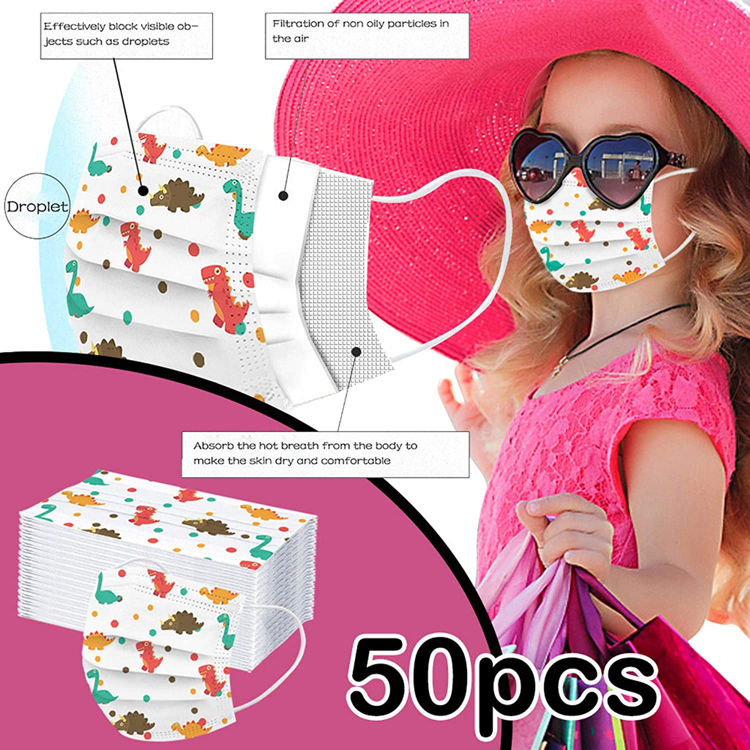 50Pcs Disposable Face Bandanas with Cute Dinosaur Pattern No Washable for Kids 50PCS 3 Ply Non-Woven Childrens Face Bandanas JUSTSELL 【UK Stock】3 Ply Non-Woven Breathable and Anti-Haze DUKt