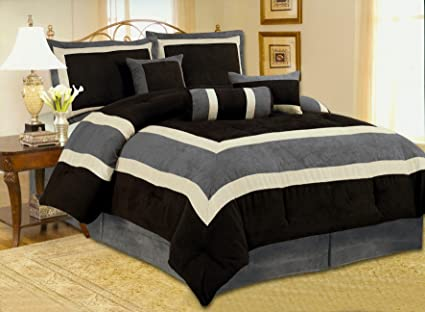 High Quality Micro Suede Queen Comforter Set Bedding In A Bag, Black