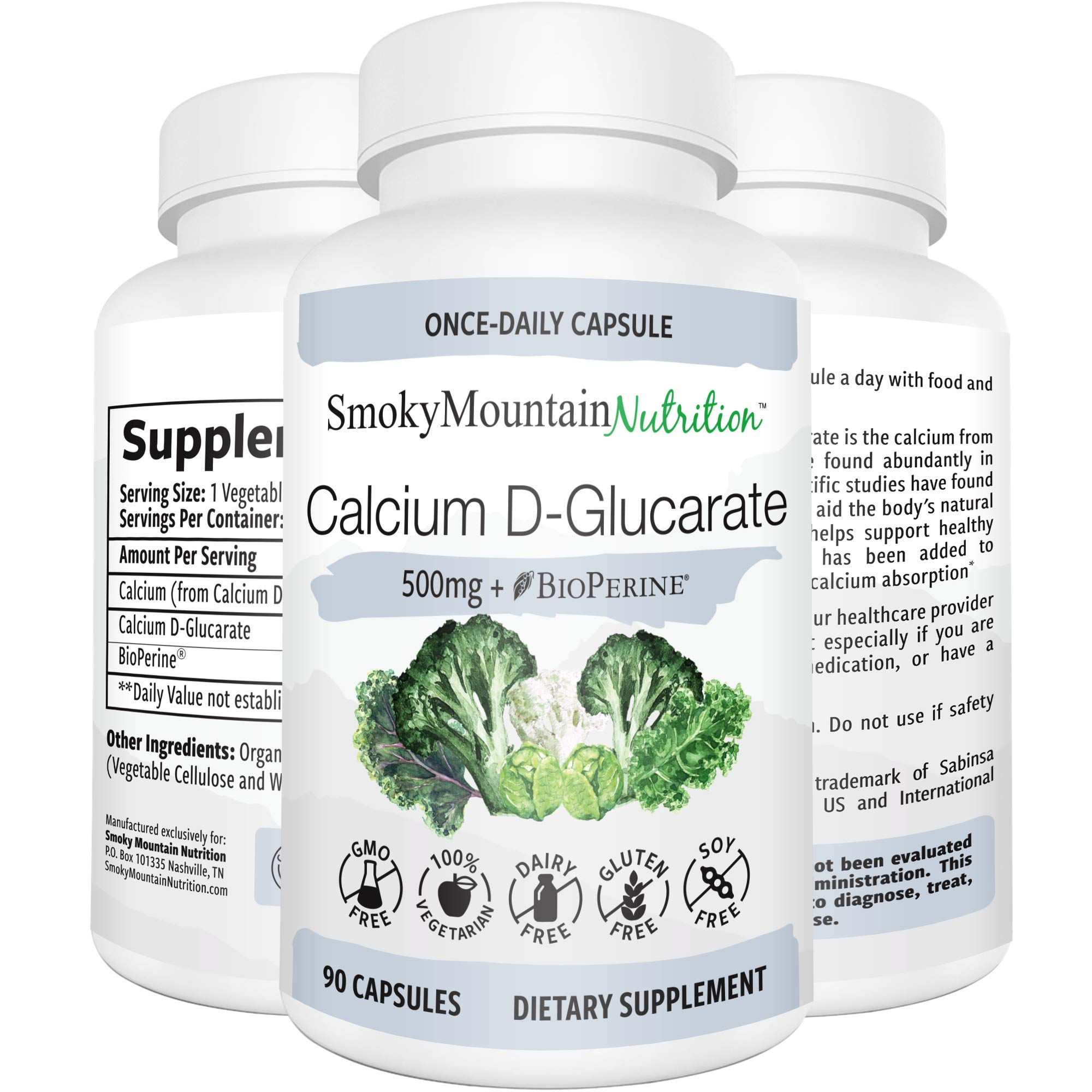 Calcium D-Glucarate 500mg 90 Vegan Capsules (3-Month Supply) CDG for Liver Detox & Cleanse, Weight Loss, Prostate, Metabolism, Menopause. Non-GMO, Soy-Free, Keto-Friendly by Smoky Mountain Naturals