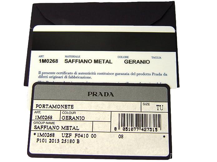 b83583926098 Amazon.com: Prada Saffiano Metal Zip Around Mini Wallet Coin Purse Geranio  Pink: Shoes