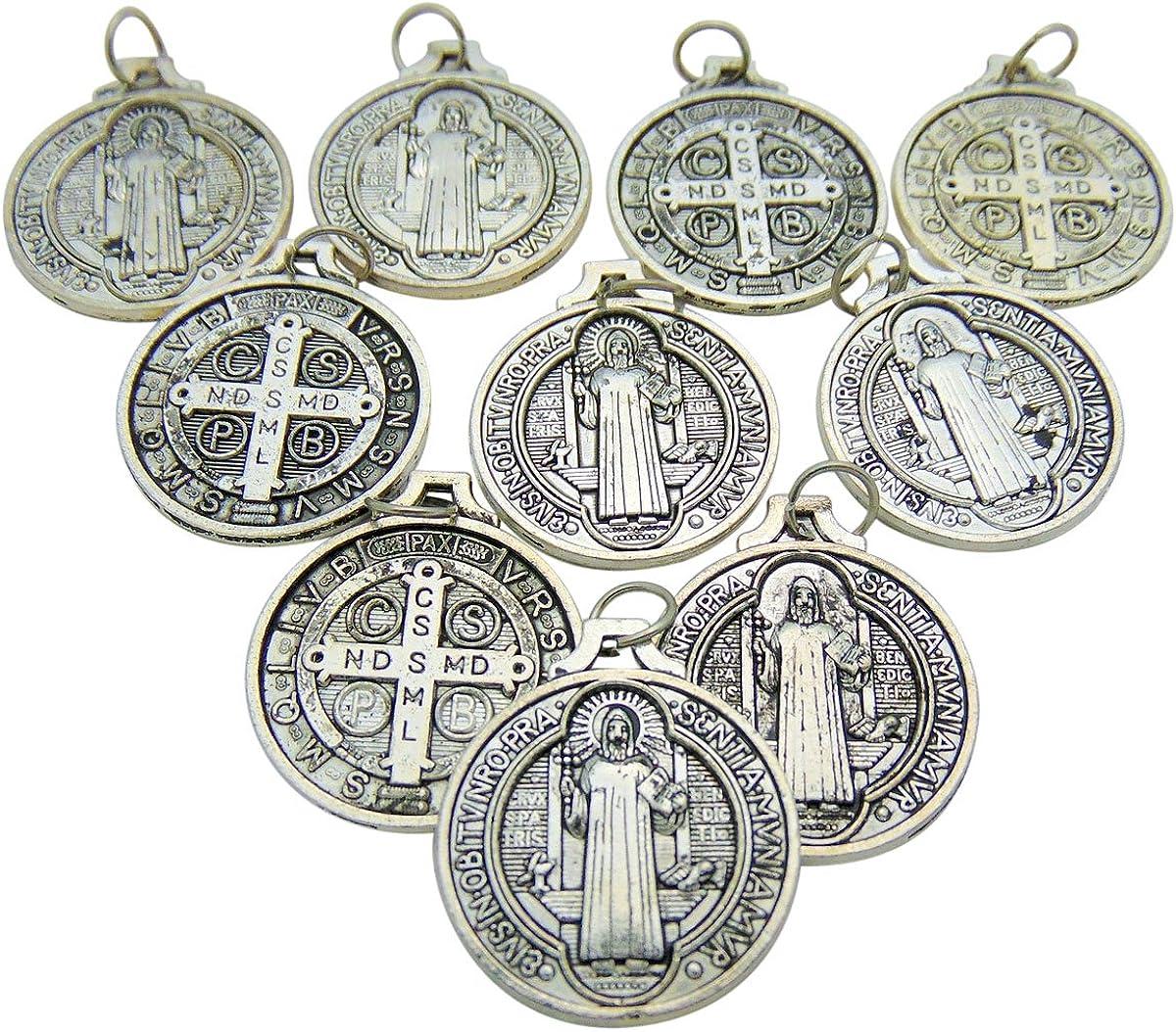 CB Set of 10 St Benedict Medals 7/8 Inch Metal Saint Pendant Bulk Lot
