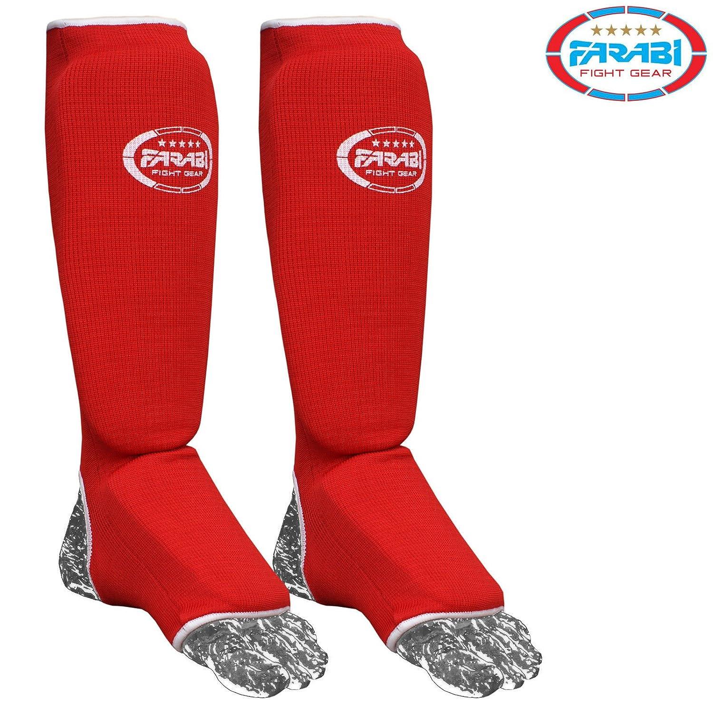 Espinillera y protectores de empeine para kick boxing (color rojo) Farabi Sports