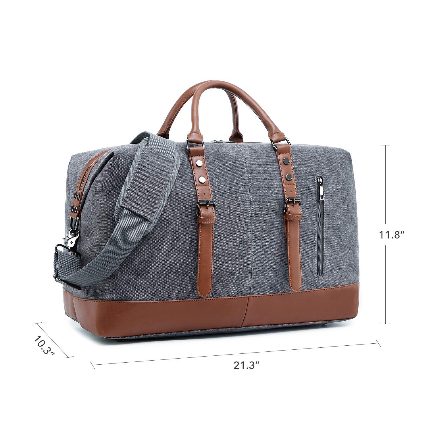 a56876470 Amazon.com | Weekend Duffle Bag Canvas Travel Bag Mens PU Leather Trim  Weekender Overnight Carry-on Luggage (Gray 832) | Sports Duffels