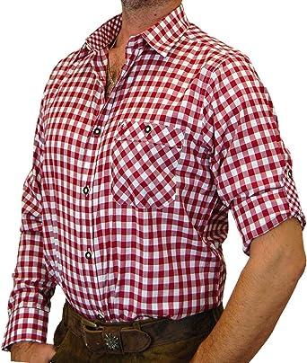 Camisa de traje regional a cuadros con puños en contraste, fabricante alemán Burgund/Weiss small : Amazon.es: Ropa y accesorios