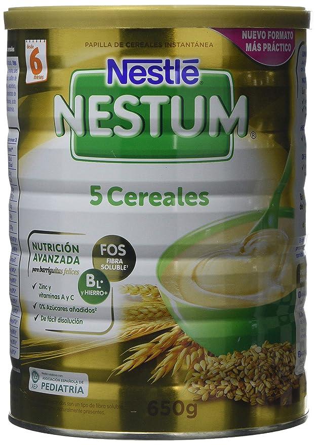 Nestlé Papillas NESTUM Cereales para bebé - 5 Cereales - 3 papillas de 650g -Total 1950g: Amazon.es: Alimentación y bebidas