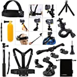 Luxebell® Kit 14in1 accessoires Bundle pour Sony Action Cam HDR-AS15 / AS20 / AS30V / AS100V / AS200V / Sony Action Cam HDR-AZ1 Mini Sony FDR-X1000V / W caméras 4K, télescopable Manfrotto Helmet Strap mont + poche Pole + ceinture pectorale mont + Poignée Grip flottant + Bike Handlebar Mount Holder + voiture ventouse + 360 clip rotatif Mont flexible + trépied + Pochette de rangement
