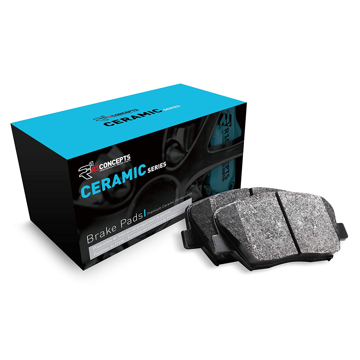 Rear R1 Concepts Ceramic Series Brake Pad With Rubber Steel Rubber Shims