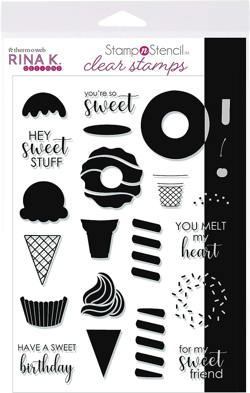 Rina K Designs StampnStencil Sweet Stuff Stamp Set 5.5 in x 8 in