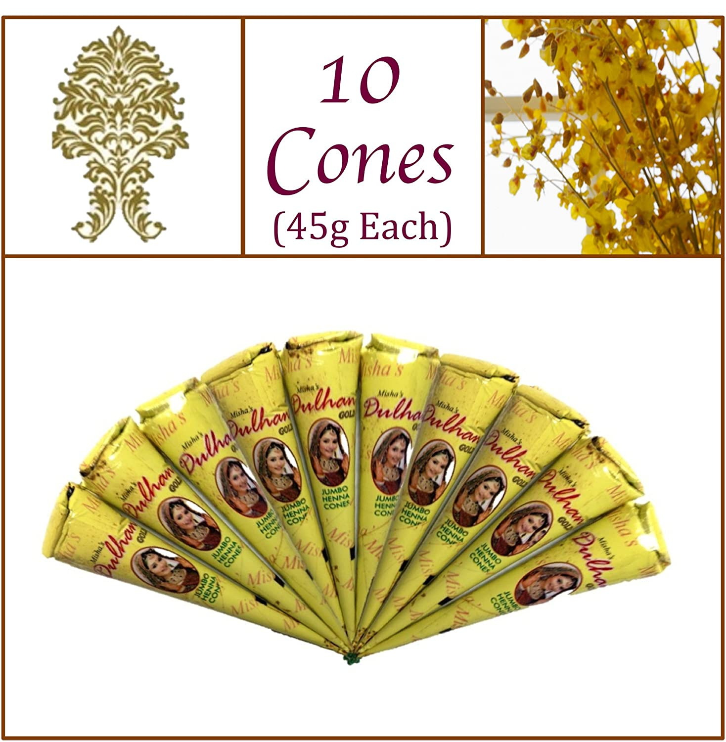 10 Jumbo Cones. Dulhan Gold Henna Paste. No Chemicals No PPD. 45g Ea. Misha