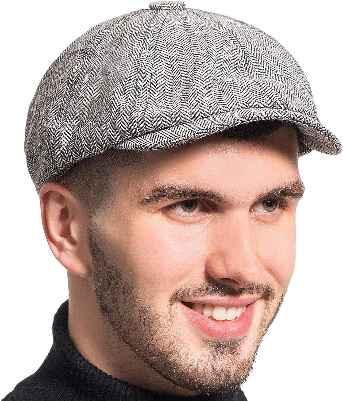 Gatsby Newsboy Hat Men Women Classic Herringbone Tweeb Flat Cap