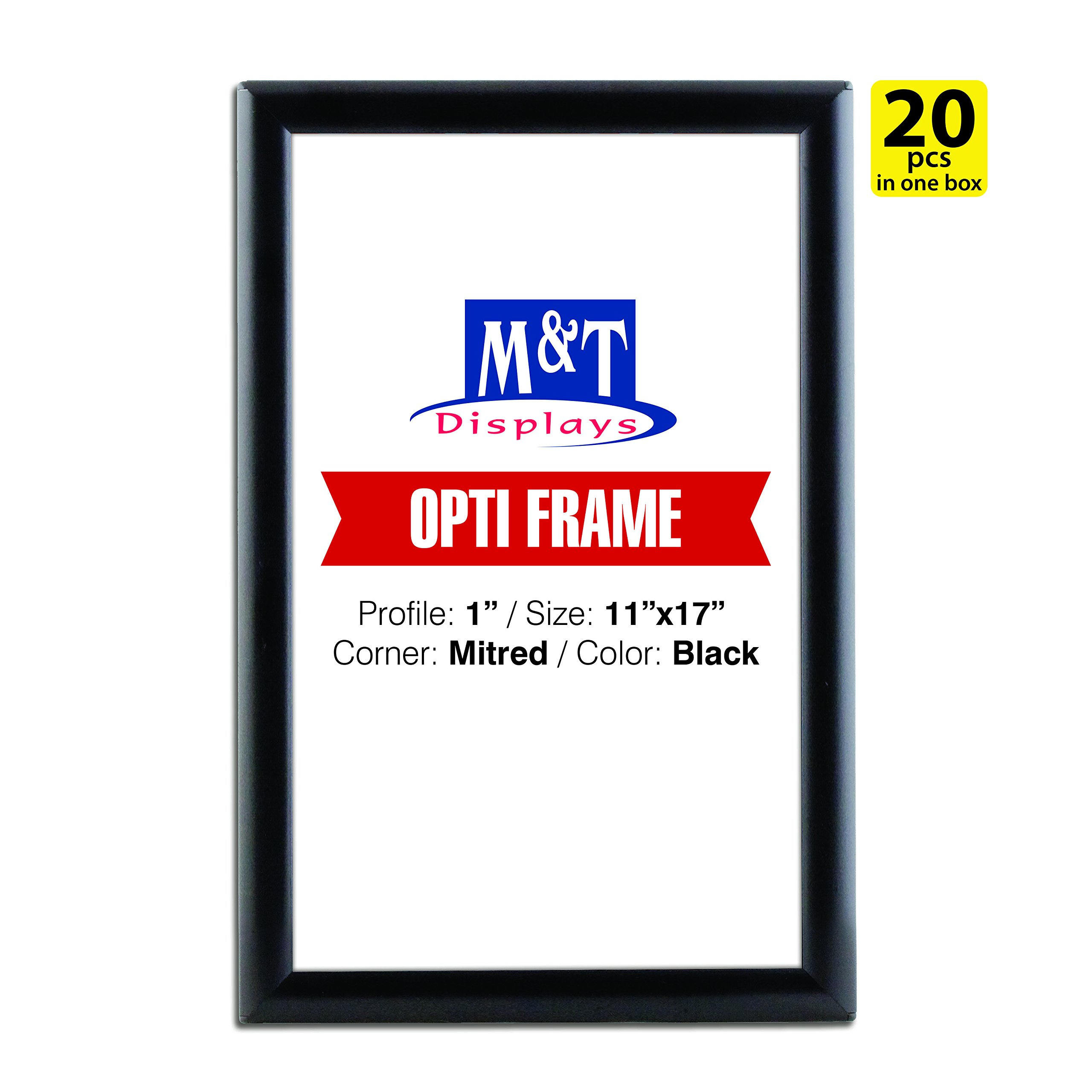 M&T Displays11x17 Snap Poster Frame, 1'' Profile, Aluminum, Wall Mounted - Black / 20pcs / Front Loading