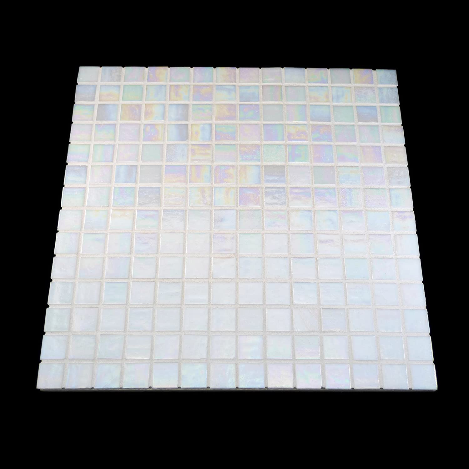 URBN Contemporary Seafoam Green Iridescent Glass Mosaic Tile for Kitchen and Bath URBN.tiles Sample Tile 4-1//3 inches x 4-1//3 inches, 0.13 SQ FT