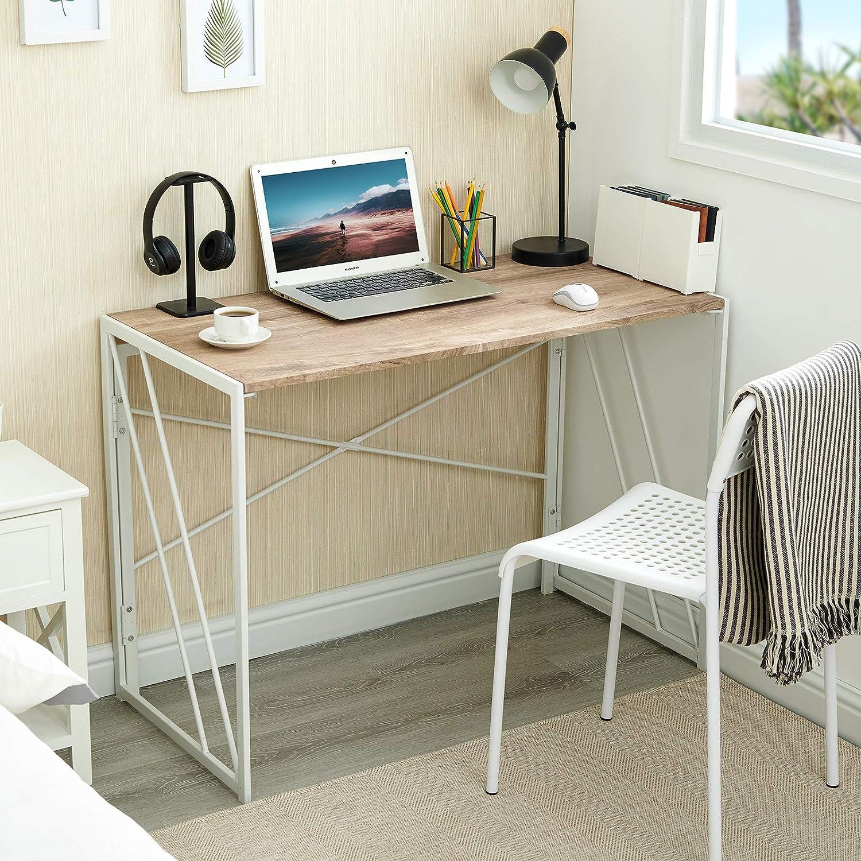 Aingoo Escritorio Plegable para computadora Escritorio Simple sin ensamblar Escritorio Escritorio de Oficina en casa para Adultos y ni/ños Oak