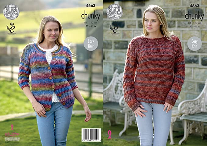 b40a4557f King Cole Womens Chunky Knitting Pattern Ladies Easy Knit Cabled Sweater    Cardigan (4663)  Amazon.co.uk  Kitchen   Home