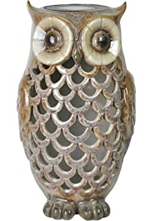 Moonrays 91581 Solar Powered Brown Owl With White LED Light
