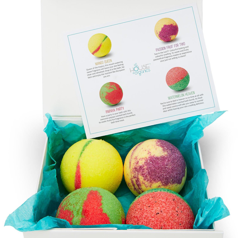 HOUSE OF ORGANICS - Luxury 100% Organic Bath Bomb Gift Set - 4 Large ...