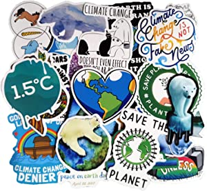 Environmental Slogans Global Warming Warning Stickers Pack(50-pcs), No Repeat Stickers for Water Bottle Laptop Ipad Phone MacBook Luggage Guitar with Waterproof PVC.