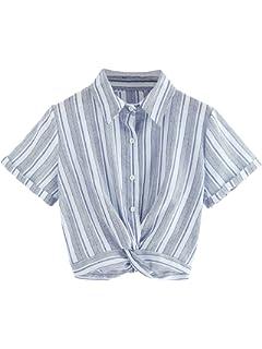 1a242858f207d WDIRA Women s Striped Ruffle Sleeve Knot Front Button Down Crop Shirt Top  Blouse