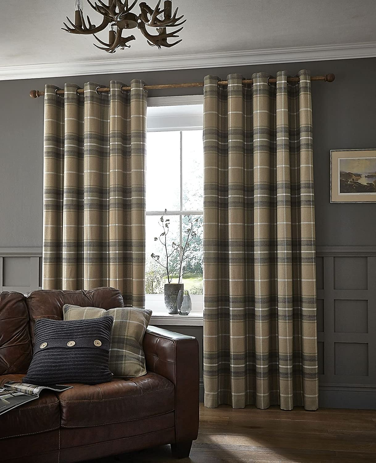 Catherine Lansfield Brushed Heritage Check Eyelet Curtains Grey, 66x54 Inch Turner Bianca DS/42276/W/E6654/GY