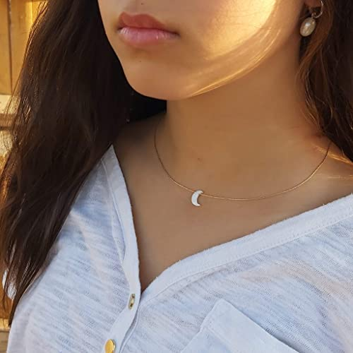 OPALMOON dainty moon necklace with opal