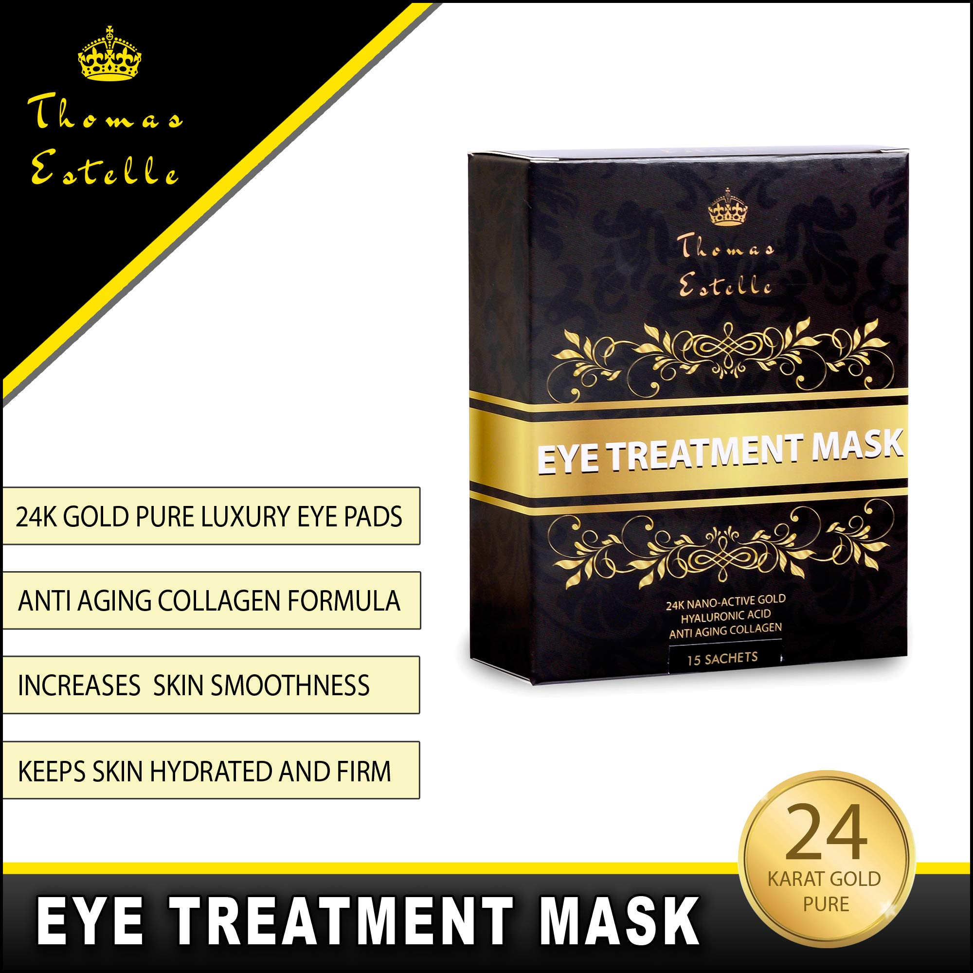 Under Eye Bags Treatment - Gel For Puffiness, Wrinkles, Dark Circles, Crows Feet, Puffy Eyes -24k Gold Luxury - The Best Natural Collagen Mask - Women And Men Masks - Anti Aging Moisturizer Pads by Thomas Estelle (Image #1)