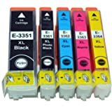 (5-pack) 33XL Compatible Non-oem high capacity printer ink cartridges for Epson Expression Premium XP-530, XP-630, XP-635, XP-640, XP-645 and XP-830 printers