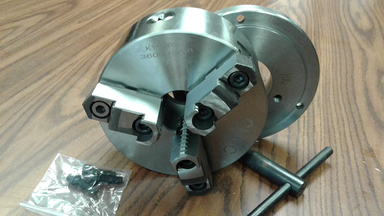 """w 6/"""" 6-JAW SELF-CENTERING  LATHE CHUCK L00 adapter back plate top/&bottom jaws"""