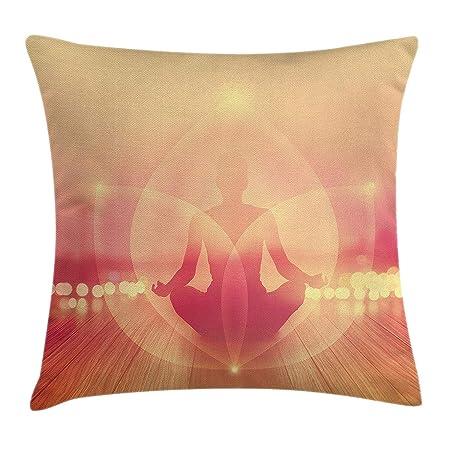 KLYDH Yoga Throw Pillow Cushion Cover, Silhouette of Woman ...