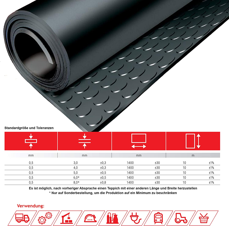 SBR Noppenmatte Gummimatte Bodenmatte Gummil/äufer Bodenbelag Breite 120cm 3mm 120 x 170 cm