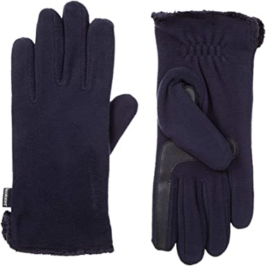 One Size isotoner Womens Stretch Fleece Gloves with Microluxe and Smart Touch Technology Midnight Blue