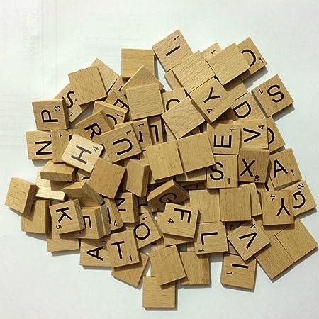 NMIT - Letras de Scrabble de madera para manualidades, 100 unidades: Amazon.es: Hogar