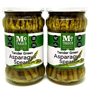 TAVERNIT Small Tender Green Asparagus Spears Thin Little Gourmet Salad Toppers Spicy Bloody Mary Recipe Ingredients Healthy Snacks (2 Ct. Glass Jars - 105.5oz. Each)