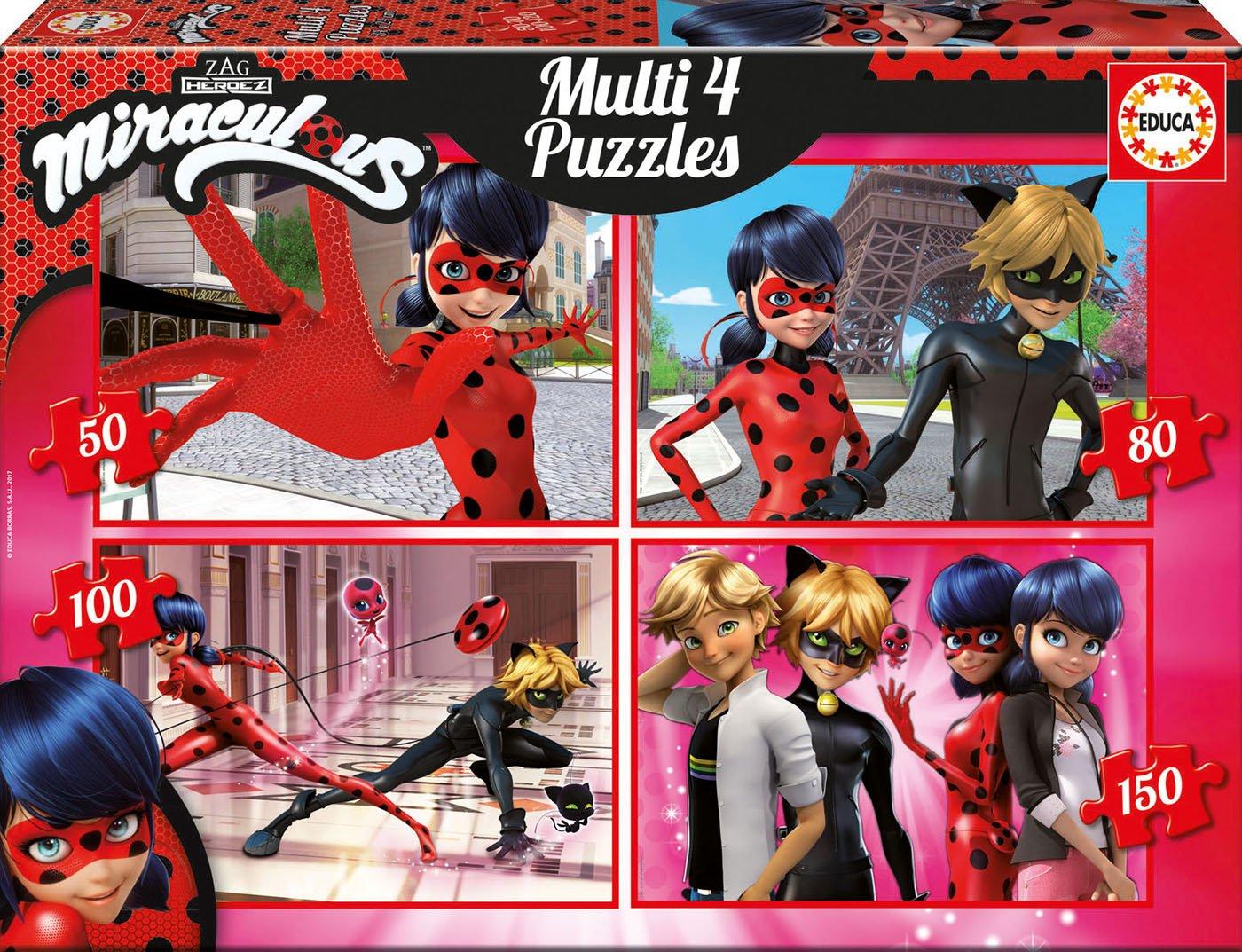 Prodigiosa: Las aventuras de Ladybug - Set Puzzles progresivos de 50, 80, 100 y 150 Piezas (Educa Borrás 17466)