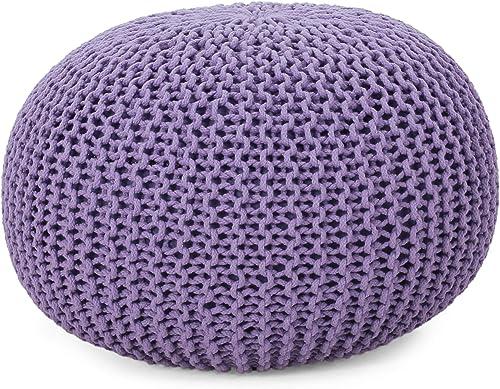 Christopher Knight Home Abena Modern Knitted Cotton Round Pouf