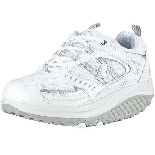 Skechers Shape Ups-Motivation - Zapatillas de Deporte de Cuero para Mujer, Color Blanco, Talla 36.5: Amazon.es: Zapatos y complementos