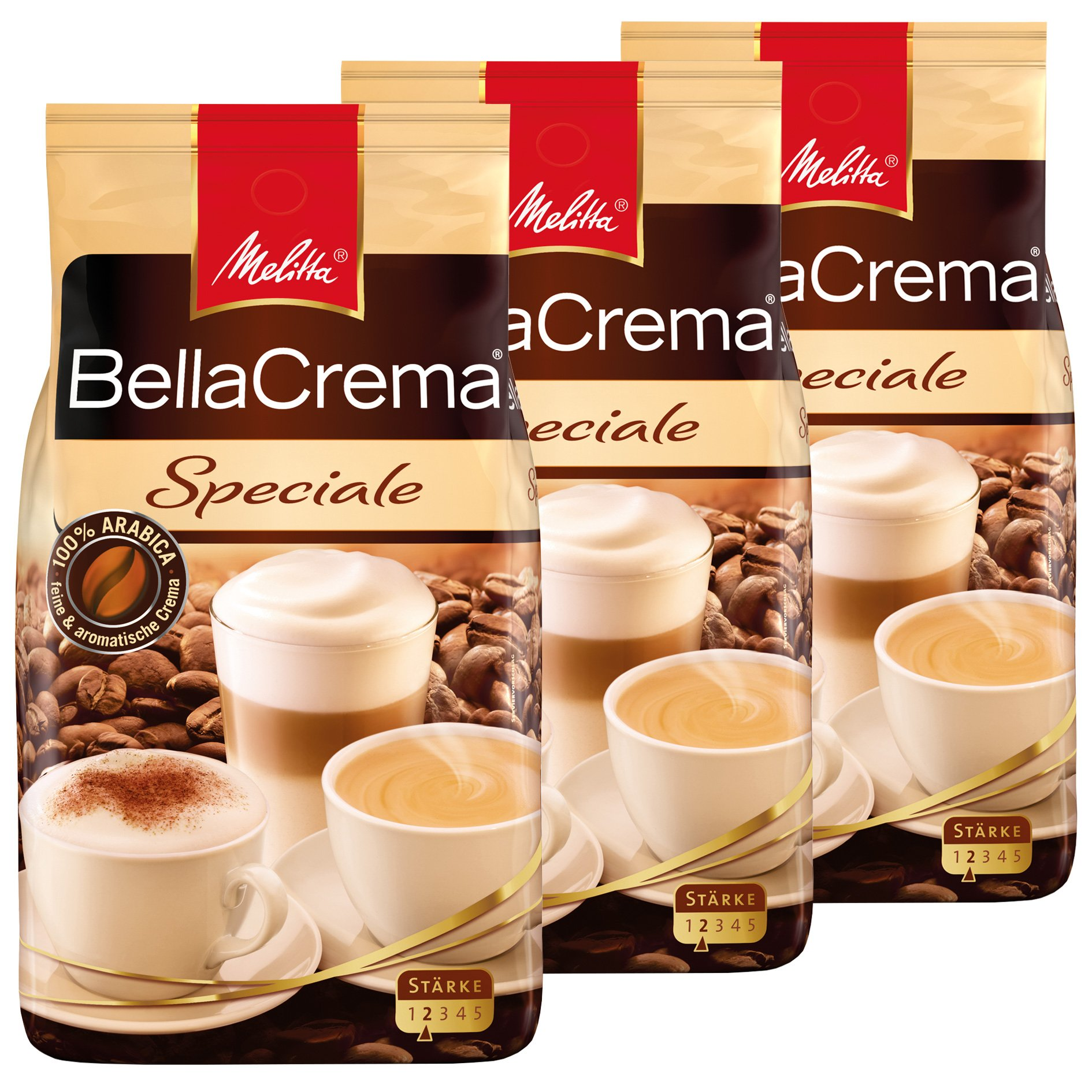 Melitta Coffee BellaCrema Speciale, Whole Beans, Pack of 3, 3 x 1000g