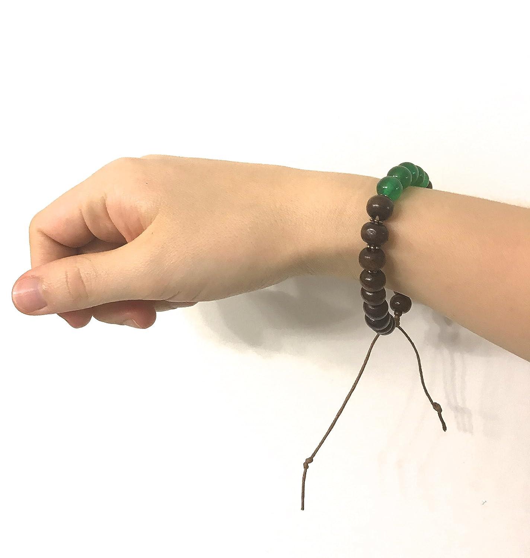 Unisex Natural Green Jade Stone and Wood Bracelet Heart Chakra Dream Stone. Adjustable Sliding Knot String