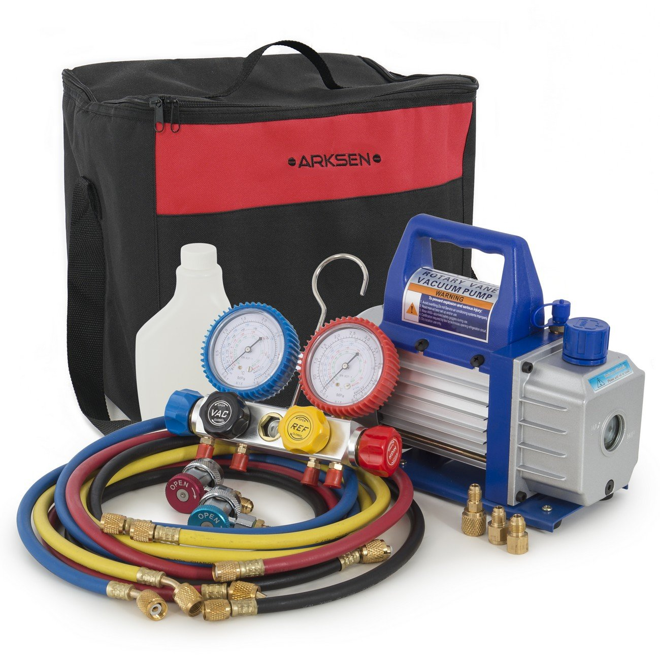 ARKSEN 4 Way A/C Manifold Gauge Carrying Bag Adapters R410 R22 R134 R407C & 3CFM Rotary Vacuum Pump