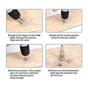 Glass Drill Bits - 15pcs Diamond Hole Saw Drill Bit for Glass, Ceramics, Porcelain, Ceramic Tile, Marble, Granite, 6-50mm Kit Set Hollow Core Extractor Remover Tool