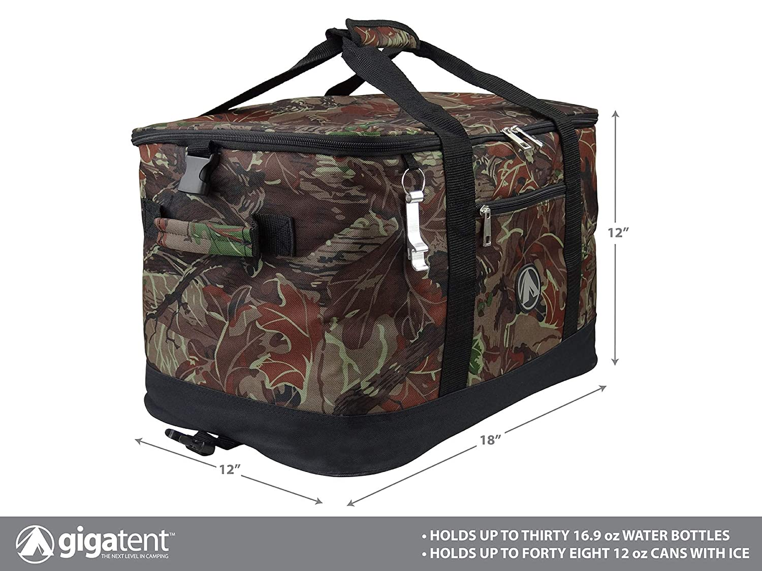 GigaTent Insulated Collapsible Cooler Soft Lunch Box with Bottle Opener for Camping, Beach and Travel Lightweight and Tear Resistant Fabric Large – 18 W, 12 H, 12 D, Camo