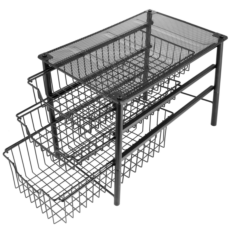 3s Stackable Tier Sliding Basket Organizer Drawer, Cabinet Storage Drawers …