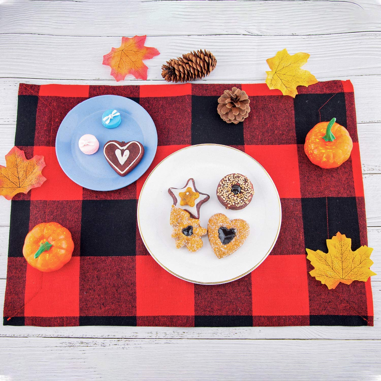 LUTER 6pcs Buffalo Check Placemats Christmas Double-Sided Placemats Red/&Black Plaid Table Mat for Table Decorations Christmas Decor Supplies 47/×32cm//18.5/×12.5inch