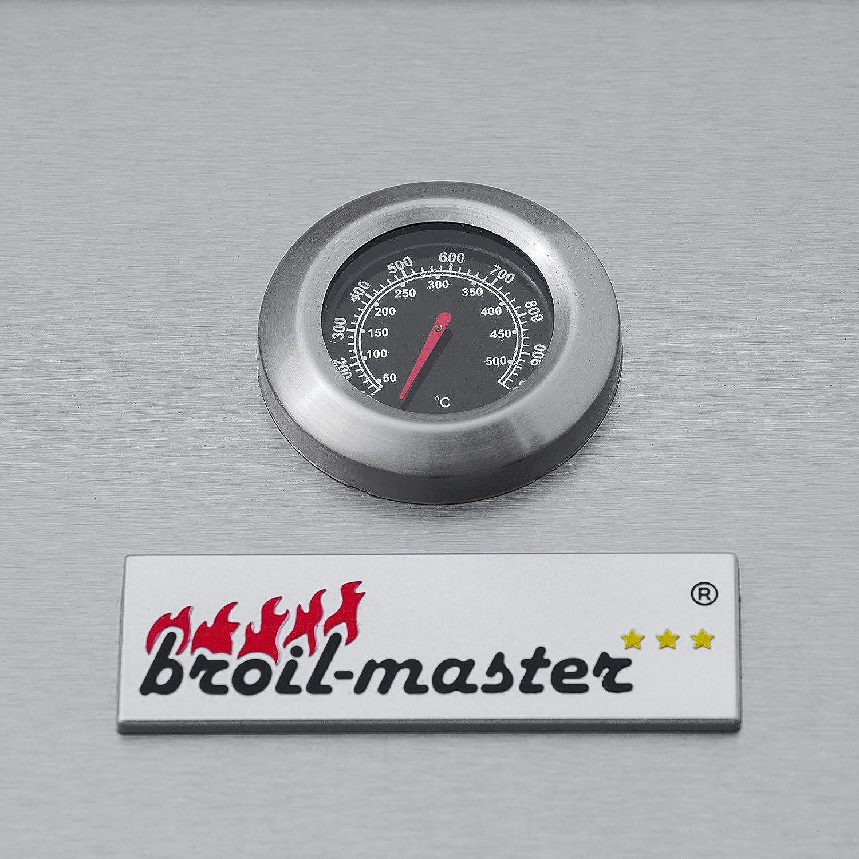 Grillstation Innertemperaturanzeige Barbecue Edelstahl Grillfl/äche: 49,5 x 44,5 cm Deckel mit Thermometer 1 Seitebrenner Farbe: Silber 2 Brener BBQ Gasgrill Grillwagen