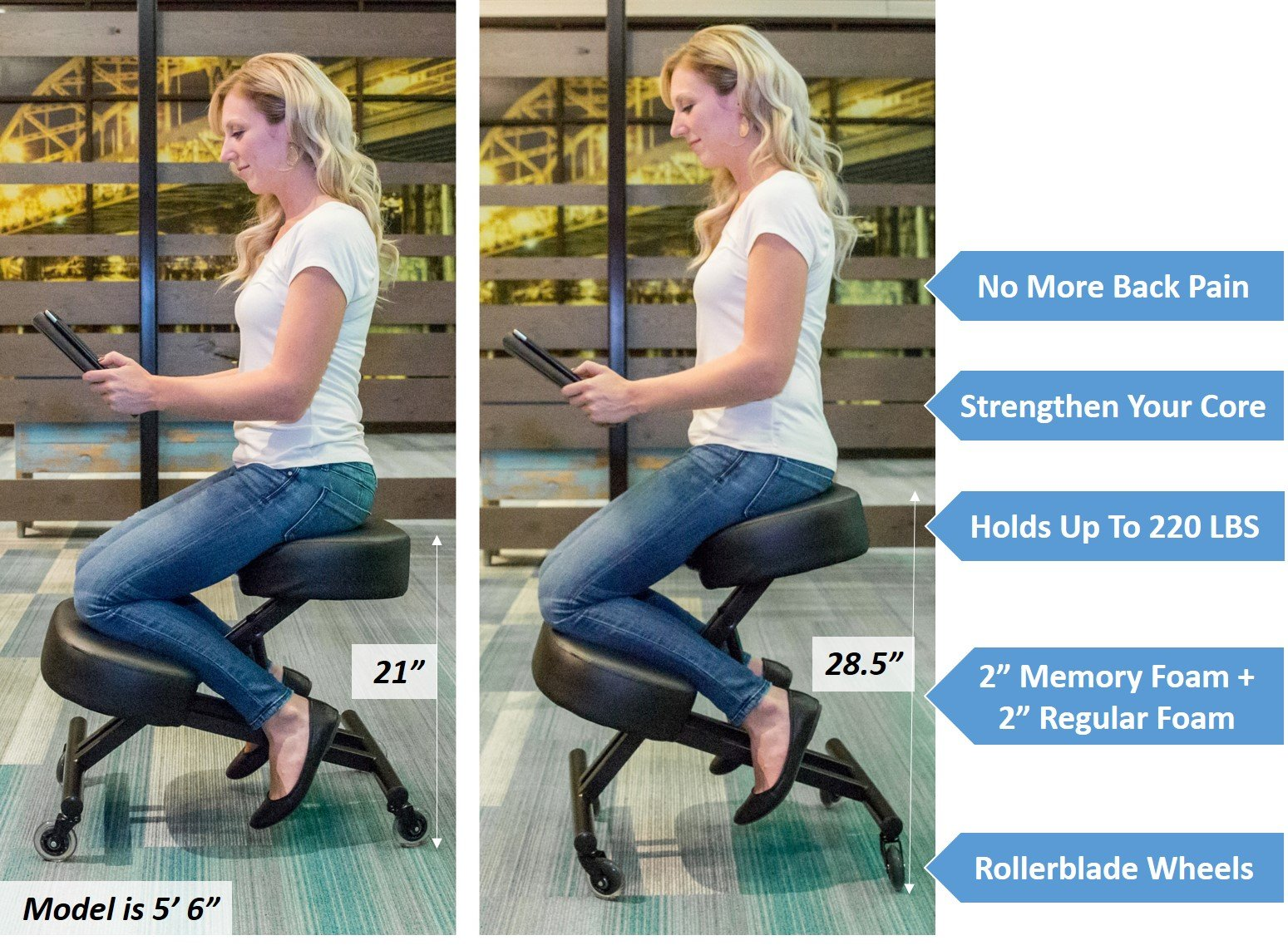 Sleekform Ergonomic Kneeling Chair M2 (Memory/Regular Foam), Adjustable Stool for Home, Office, and Meditation - Rollerblade Casters by Sleekform (Image #4)