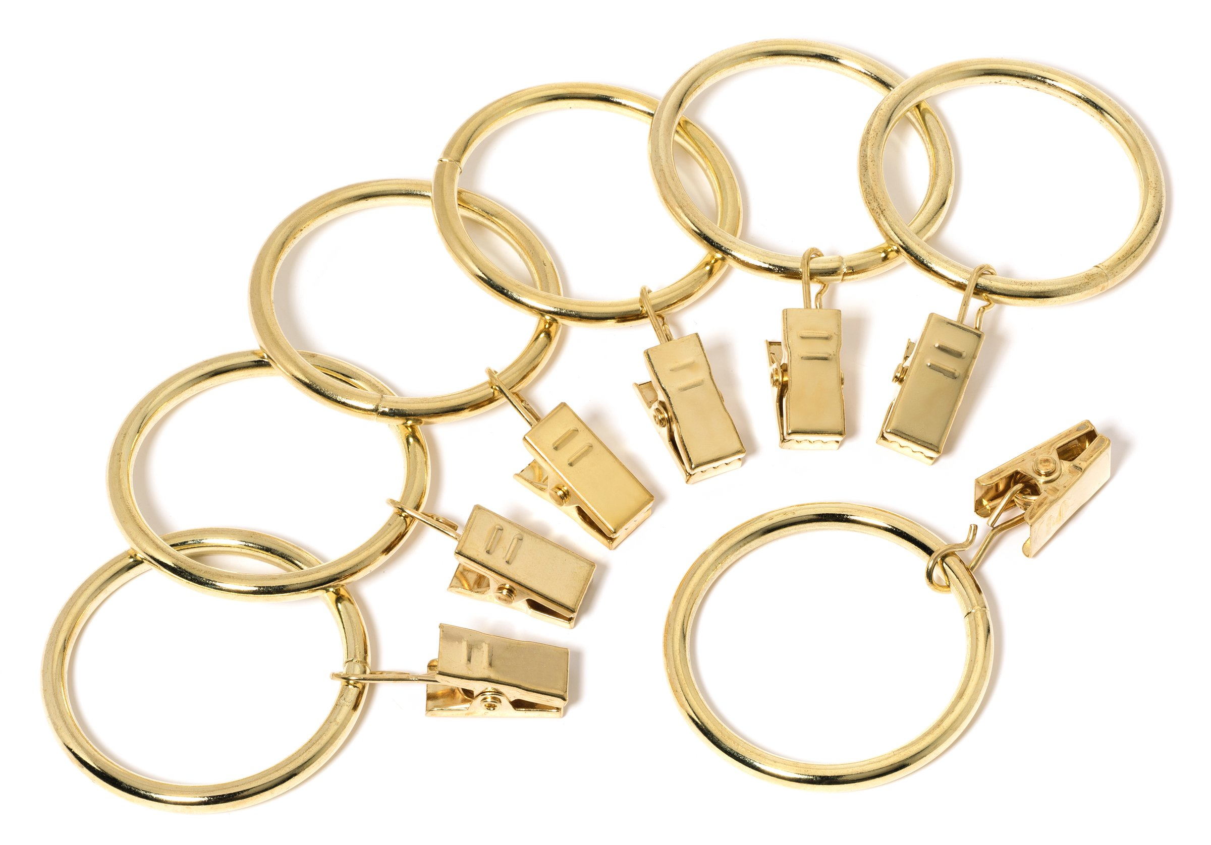 Perfect Order Iron Metal Curtain Clip Rings 1 1/2 Inch Interior Diameter (50, Gold)
