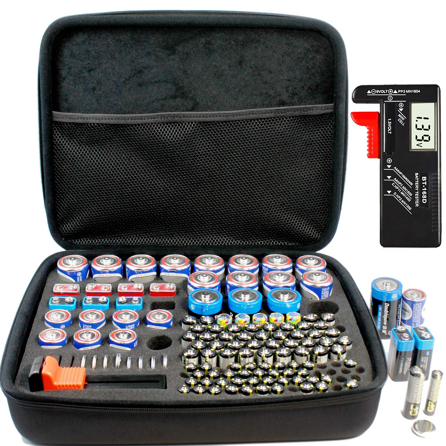 Full Size Battery Organizer Storage case with Digital Battery Tester/Checker, C D 9V AA AAA Battery Organizer(No Battery Included) by RIGICASE