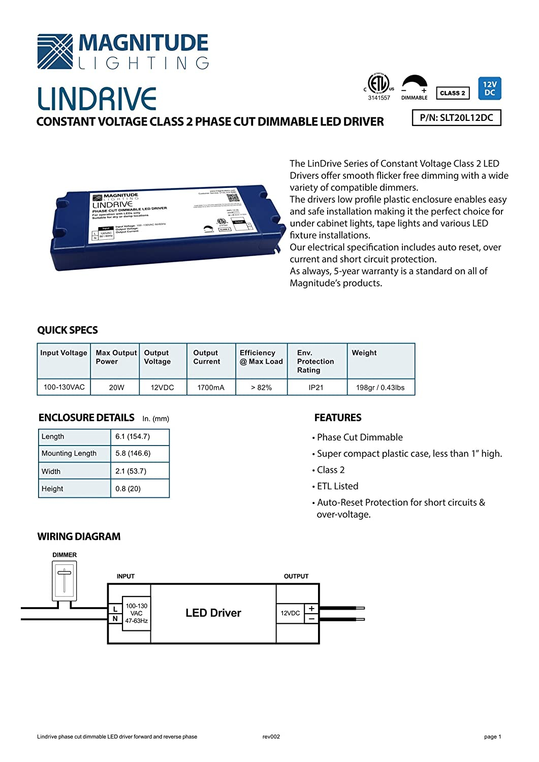 Led Driver Lindrive Magnitude 40w 12v Dimmable Transformer Tled Circuit Diagram Vingt12v To 11 Series X 40 Parallel Slt40l12dc From Inspired Electronic